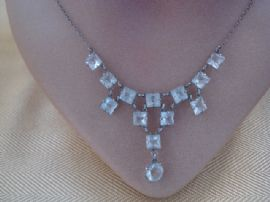 1930's Art Deco Necklace - Open Set Crystals